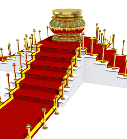 strut: Award is on red carpet on white staircase.