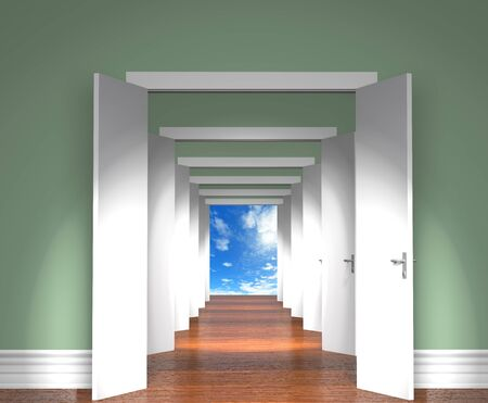 open: Ssequence of the open white doors to heaven. Stock Photo