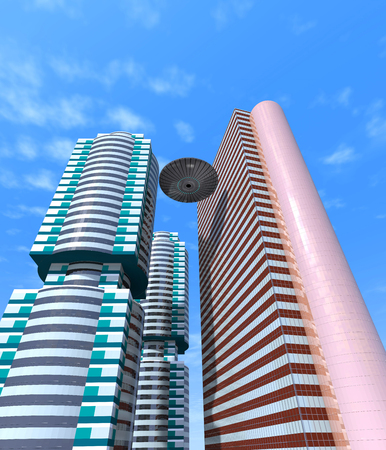 ufos: Abstract building and UFOs are in the sky.