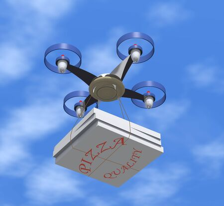 delivers: Drone delivers pizza boxes in the sky.