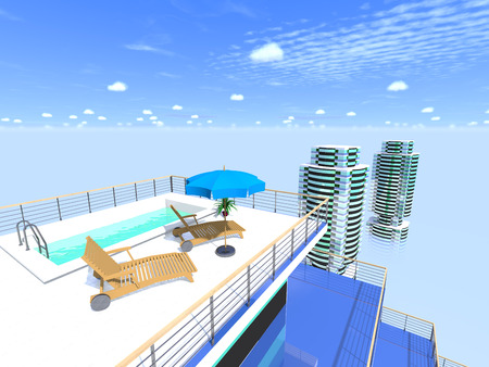 penthouse: Swimming pool on the roof and buildings against the sky