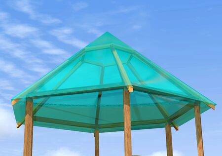 prefabricated: Wooden pergola is on a background of blue sky.