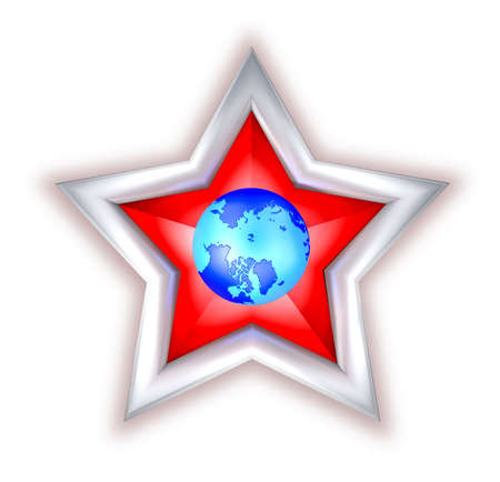 Red star with globe.