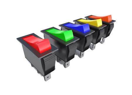 circuito electrico: Interruptores eléctricos para el control de circuito eléctrico son en el fondo blanco. Foto de archivo