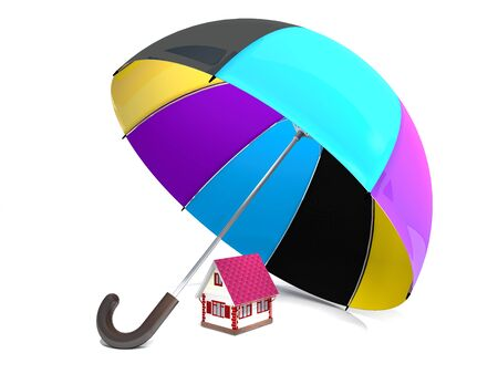 misfortune: Home and protective umbrella are on white background.