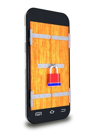 protection concept: Mobile phone and lock are on white background.