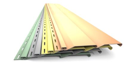 Plastic siding panels of different colors are on white background. Foto de archivo