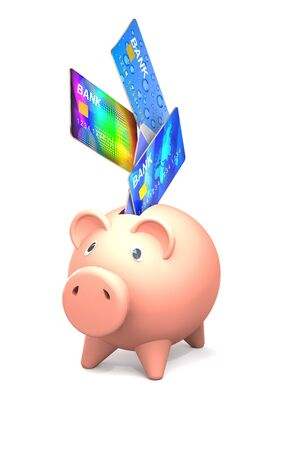 objec: Piggy Bank and bank cards are on white background. Stock Photo