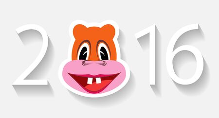 Numbers in 2016, and the monkey on a white background are shown in the image.