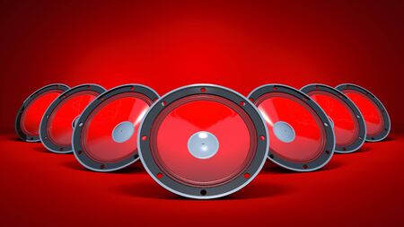 famous industries: Three speakers are on a red background. Stock Photo