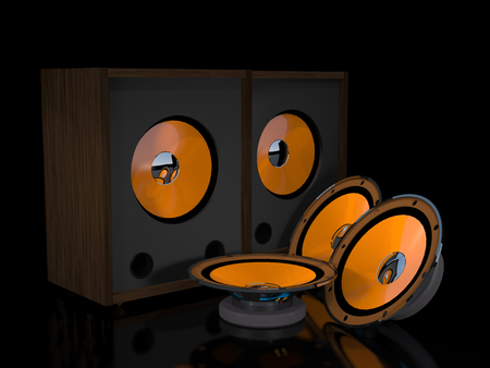 emitter: Loudspeakers and speakers are on a black background. Stock Photo