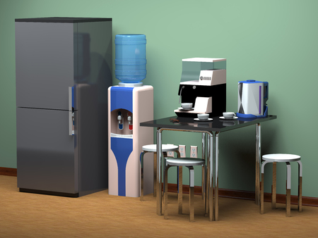 Refrigerator, kitchen table, drinking water cooler at the office.