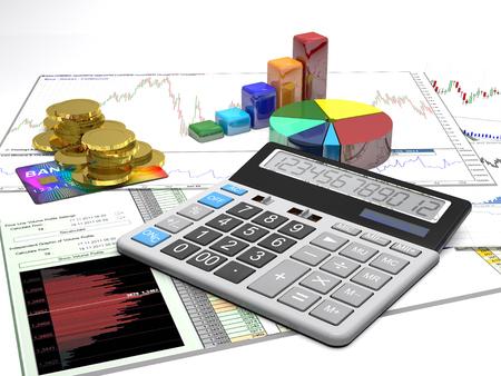 grafica de barras: Calculadora, dinero, tarjetas de crédito y los diagramas son en un conocimiento de los negocios.