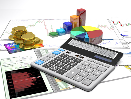 financial symbols: Calculator, money, credit cards and diagrams are on a business background.