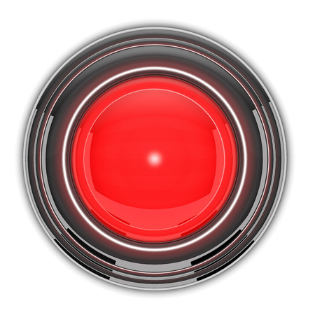 power button: Red button is on white background. Stock Photo