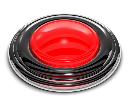 recess: Red button is on white background. Stock Photo