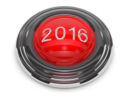 recess: Button start the new year is on white background. Stock Photo