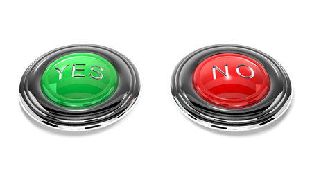 green button: Green button yes and red button no are on white background.
