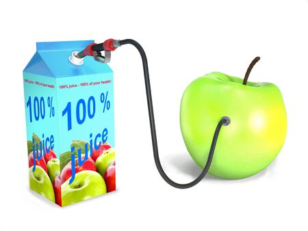ripe: Ripe apple, package, hose, valve as concepts on white background.