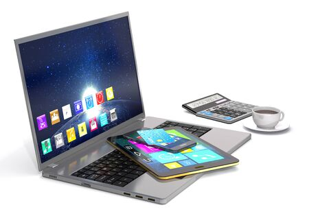smart card: Laptop, tablet pc, smart phone, calculator, bank card and cup of coffee on white background.
