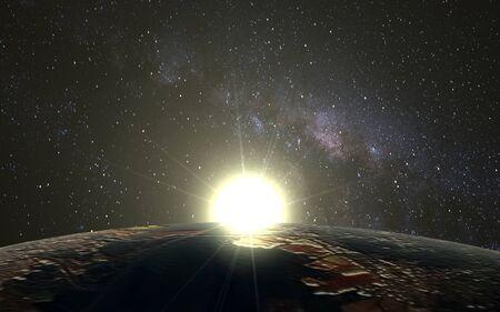 desktop wallpaper: Planet Earth and Space sunrise as the desktop wallpaper.