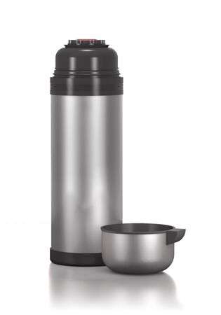 stainless: Stainless steel bottle for drinks on white background.