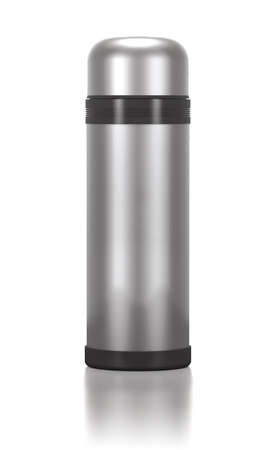 insulated drink container: Stainless steel bottle for drinks on white background.