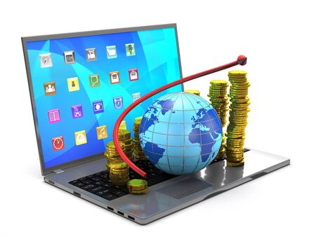 gold globe: Globe, tablet pc, gold coins and red arrow on white background.