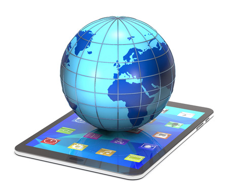 pc: Tablet pc and globe on white background. Stock Photo