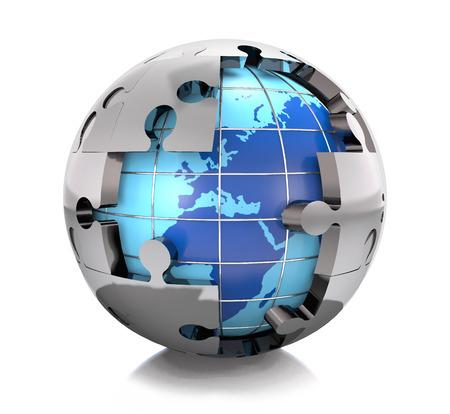 Puzzle and globe on white background.