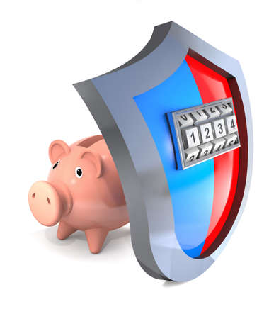 breaking the code: Protective shield of piggy bank and his breaking with the code. Stock Photo