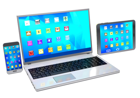 laptop mobile: Modern laptop, tablet pc and mobile phone on white background.