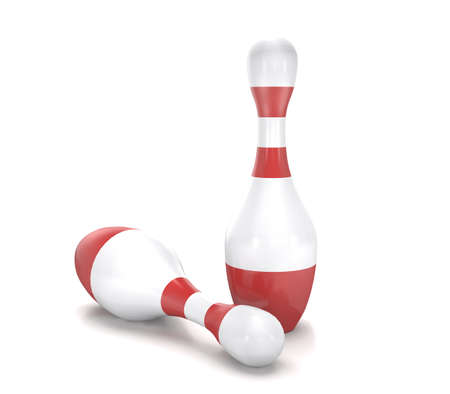 Bowling skittles on white background are shown in image.