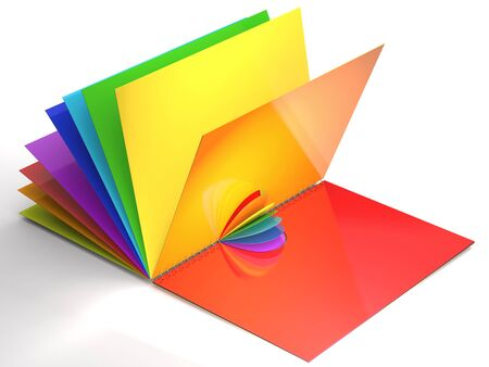 Open notebook with colorfull sheets is on white background.