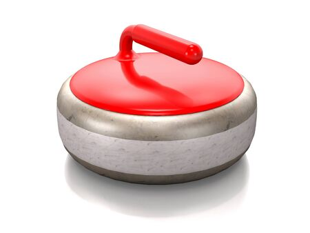 Stone with a handle for curling on white background. Stock Photo
