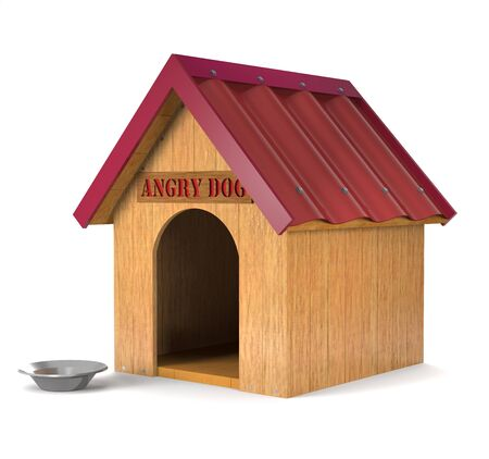 doghouse: Wooden doghouse and an aluminum plate on a white background.