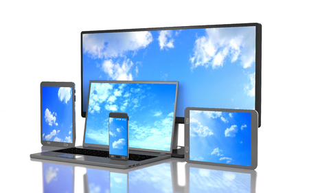 Set of clouds on the screen of computer gadgets on white background.