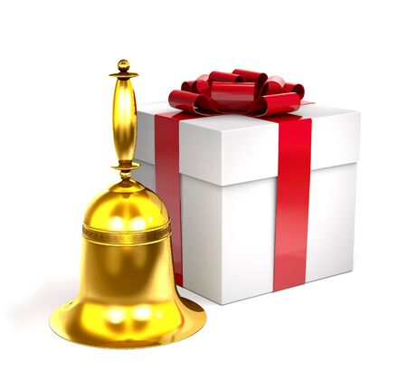 Gold bell and gift box with red bow on white background.