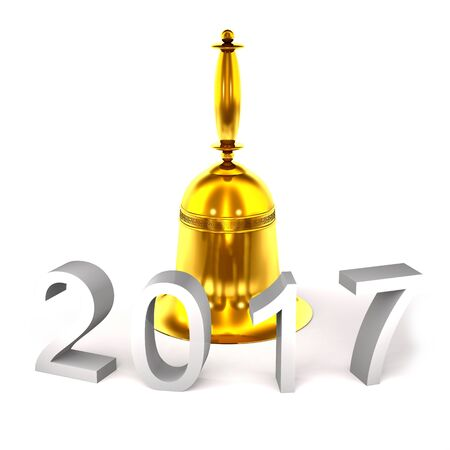 Gold bell and numbers 2017  on white background.