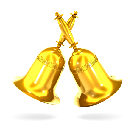 Two gold bell on white background.
