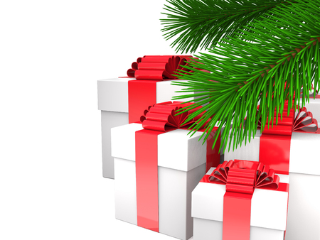 Boxes with ribbons and bows and green fir branches on white background (3d illustration). Stock Photo