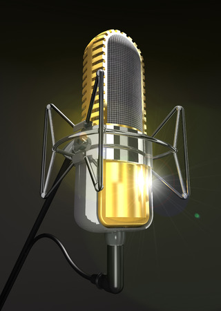 voices: Professional microphone on the stand on a dark background (3d illustration).