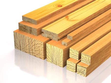 Lumber lie on the wood stock on white background (3d illustration). Stock Photo