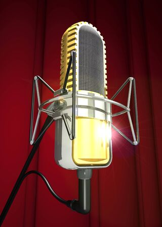 Professional microphone on the stand on a curtain background (3d illustration).