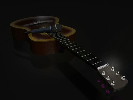 Acoustic six-string guitar and concert microphone on a dark background.