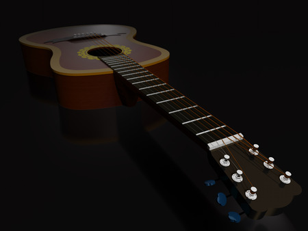 Acoustic six-string guitar on a dark background.