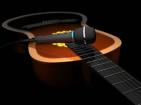 the resonator: Acoustic six-string guitar and microphone on a dark background.