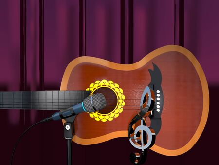 Acoustic six-string guitar, clef and microphone on a purple curtain background (3d illustration). Stock Photo