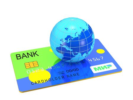 retail equipment: Russian credit card and globe on white background (3d illustration)