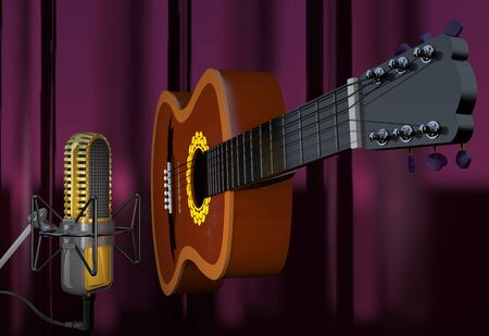 Acoustic six-string guitar and microphone on a curtain background (3d illustration).